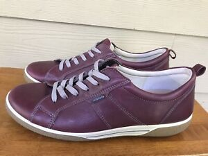 Mens Ecco Brown Leather Sneakers Casual Dress Shoes Size EU 41 / US 8