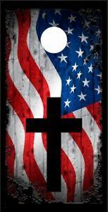 American Flag Cross LAMINATED Cornhole Wrap Bag Toss Decal Sticker