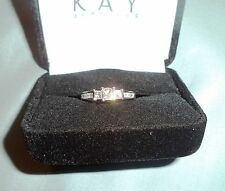 White Gold 3-Stone Princess Cut Diamond Ring Kay'S: Gorgeous New 1 Carat Tw, 14K