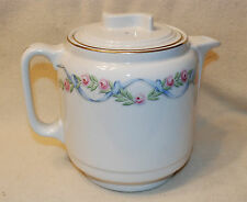 VINTAGE HALL WILDFIRE PATTERN 'S' LID COFFEE POT 10 CUP ROSES RIBBON CA PRE-1945