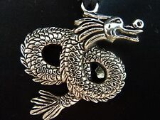 Steam Punk Necklace Chinese Dragon 16 Inch cord faux Silver Jewelry New Year DH