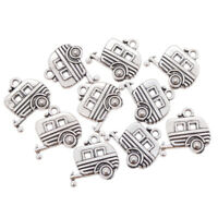 10 Pcs Camping Car Silver Dangle Charm Pendant Slider Bead for Bracelet Necklace