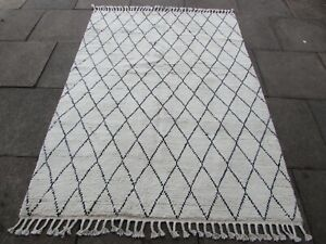 Vintage Traditional Hand Made Moroccan Beni Qurain Wool White Rug 213x152cm