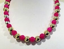 Necklace. 46cm Round Glass Fuschia coloured beads. Gold Plated round spacers