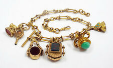 Antique 9K Yellow Gold Albert Watch Chain Necklace Many Fobs Charms Locket Stamp