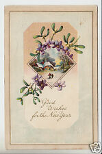 Good Wishes for the New Year Card POSTCARD Vintage 1912 1-cent Canada Stamp