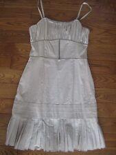 NWT NOUGAT London beige cotton silk ruffle pleated dress 3 M $280