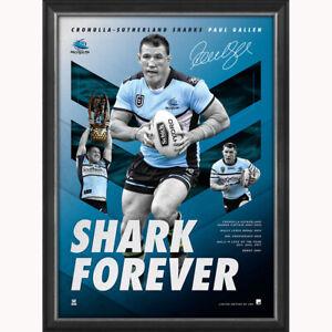 """Paul Gallen Signed Cronulla Sharks Official NRL Print Framed """"Shark Forever"""""""