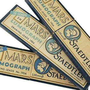 Antique Staedtler Mars Lumograph Mechanical Pencils 3H 4H 6H 1904 Drawing Leads