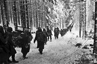 New 5x7 World War II Photo: 289th Infantry Regiment March in Snow, Belgium