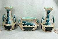 Antique french ART nouveau barbotine majolica planter vase set