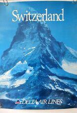 "DELTA AIRLINE POSTER ORIGINAL  ""Switzerland""  1980-1990 TRAVEL ADVERTISING"