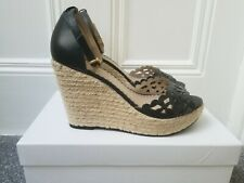 NEW Anne Fontaine Black Leather Wedge Sandals Heels Adjustable Strap Size 39