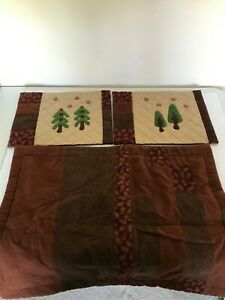 LOT 3 BROWN LOG CABIN WOODS TREES FABRIC PILLOW COVERS SHAMS