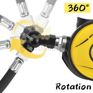 DIDEEP Universal Thread Dive Scuba Connector 360 ° Swivel Regulator Hose Adapter