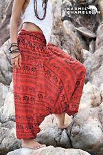 Harem Elephant Pants Hippie Red Yoga Festival Aladdin Gypsy Loose Boho Comfy