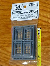 "Tichy Train Group #8043 Windows - Double-Hung  -- 2/2, Scale 36 x 64"" (HO Scale)"