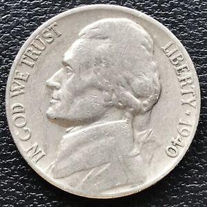 USA 1940 Jefferson Nickel 5 Cent Philadelphia Selten #16338
