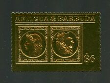 ANTIGUA GOLD FOIL STAMP ON STAMP SWITZERLAND MINT NH OFFICIAL ISSUE#2
