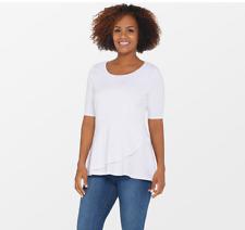 Isaac Mizrahi Live Elbow Sleeve Peplum Flounce Knit Top White Large