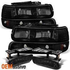 1999-2002 Silverado 1500 2500HD 3500 Black Smoked Headlights + Smoked Fog Lights