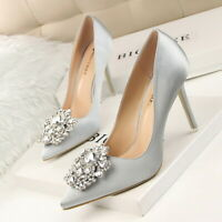 Women's High Heels Rhinestone Pointed Toe Causal Pump Party Dress Shoes Size New