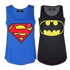 Women's Superman Batman Print Ladies Varsity Baseball T-Shirt Racer Muscle Top G