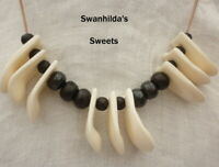 LARP NECKLACE HAND-CRAFTED LEATHER, REPLICA ELK TOOTH & COW BONE SWSW