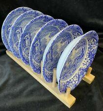 More details for vintage spode blue italian black backstamp set 6 x soup cereal bowls
