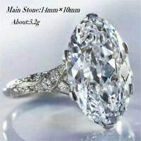 Fashion 925 Silver Filled Rings for Women Oval Cut White Sapphire Ring Size 6-10