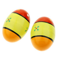 2 PCS Egg Maracas Shakers Halloween Prop Wooden Percussion Musical Toy