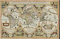 "Ancient World Map Geographica globi trientes CANVAS PRINT poster 16""X12"""