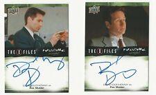 David Duchovny X Files Ufos & Aliens Paranormal Script Autograph 2 Card Set Lot