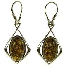 BALTIC AMBER STERLING SILVER 925 DROP DANGLING HOOPS EARRINGS JEWELLERY JEWELRY