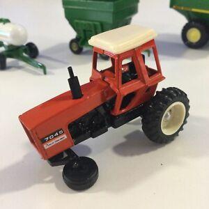 """Vintage ERTL: """"Allis-Chalmers 7045"""" ORANGE Farm Tractor Toy; 1/64 PARTS RESTO"""