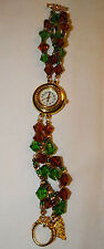 Vintage Jeweled Watch Green and Red Band with Gold Tone - New Battery Installed