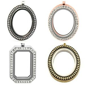 OVAL RECTANGLE Silver, Gold,  Rose Gold FLOATING LOCKET Pendant & Chain