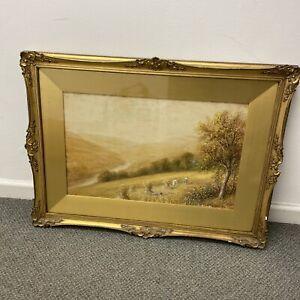J Morris Watercolour Painting Landscape Framed Ornate Gilt Frame Large L14