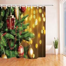 3Xmas Balls Hanging On Fir Star Waterproof Fabric Bathroom Shower Curtain 71Inch