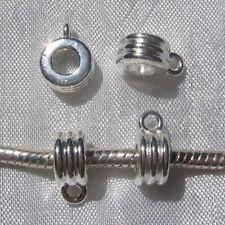 LOT de10 BELIERES 9mm METAL ARGENTE CLAIR ANNEAU bracelet collier breloque *E180