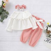 3PCS Infant Baby Girl Kid Ruffle Solid Long Sleeve Top Tassel Pants Headband Set