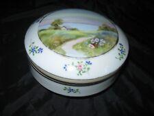 Nippon Hand Painted Trinket Powder Box Meadow Scene Flowers Lake House Design