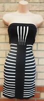 RIVER ISLAND BLACK WHITE STRIPED BANDAGE BODYCON BANDEAU CORSET PARTY DRESS 8 S