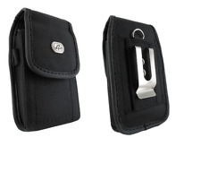 Black Canvas Case Holster w Belt Clip/Loop for Family Mobile ZTE CYMBAL LTE Z320