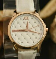 ARMANI EXCHANGE WOMEN WATCH WITH WHITE LEATHER BAND