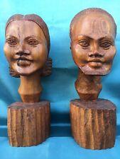 SCULPTURES TÊTES GRANDE BUSTE FEMME ET HOMME EN BOIS MASSIF ART AFRICAIN H.38 CM