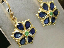 sE036 Lovely 9ct Gold NATURAL Sapphire & Emerald DAISY EARRINGS Blossom Flower