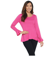 Isaac Mizrahi Live! Knit Asymmetric Peplum Top with Sleeve Detail Passion Pink L