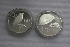 Fiji Wildlife Conservation Finch Golden Cowrie Proof Sterling 10-20 Dollars 1978