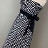 White House Black Market Strapless Black and  White Gingham Dress, Size 4